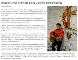 Large hispanic anglo churches blend cultures languages